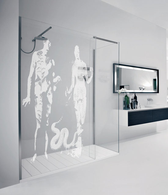 motif sur paroi douche. Black Bedroom Furniture Sets. Home Design Ideas