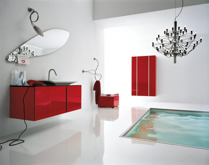 salle de bain rouge et blanche. Black Bedroom Furniture Sets. Home Design Ideas