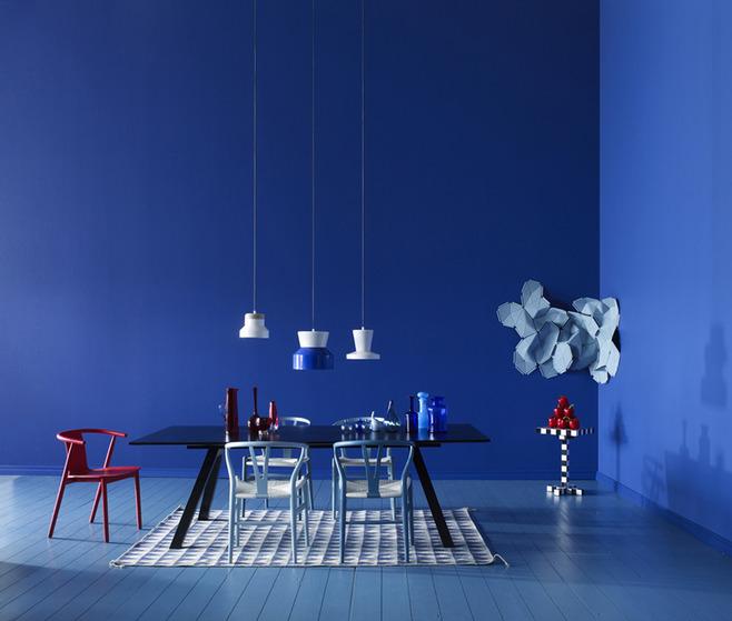 Blue Interior Design Ideas: Decoration-salon-bleue