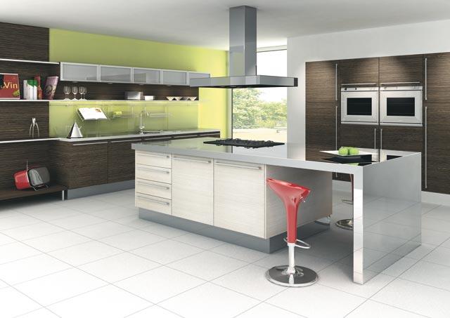 Cuisine design blanche verte et bois for Decoration des cuisines modernes