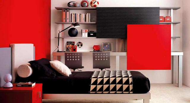 chambre enfant design rouge. Black Bedroom Furniture Sets. Home Design Ideas