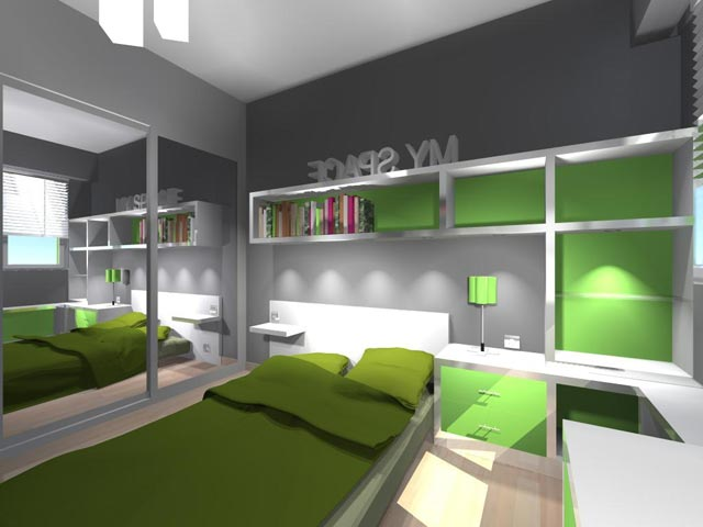 chambre enfant design verte. Black Bedroom Furniture Sets. Home Design Ideas