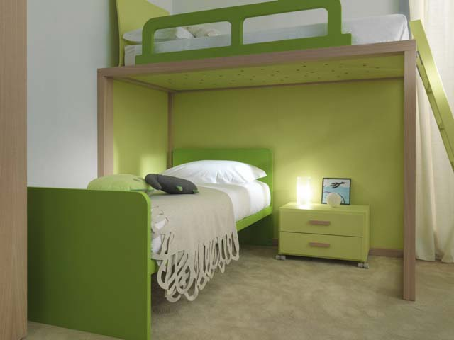 chambre enfant dearkids verte. Black Bedroom Furniture Sets. Home Design Ideas