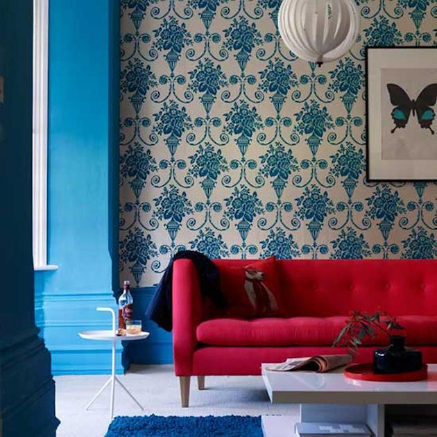 papier peint bleu. Black Bedroom Furniture Sets. Home Design Ideas