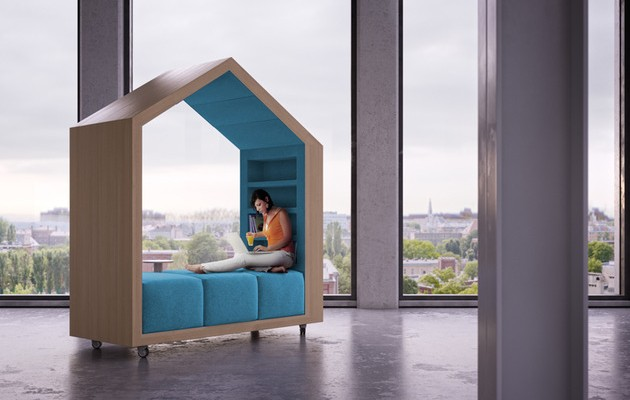 biblioth que mobile design sur roulettes. Black Bedroom Furniture Sets. Home Design Ideas