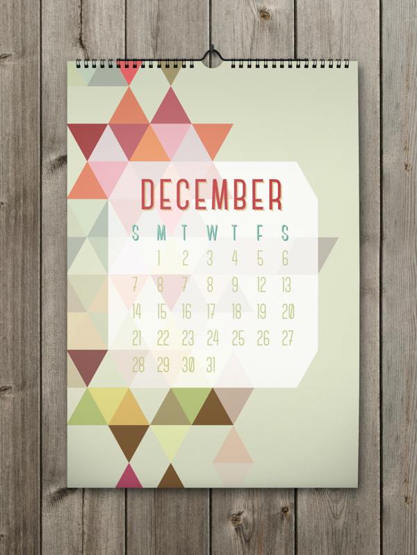 Calendrier design shapes calendar 2014 - Calendrier design ...