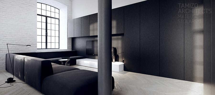 interieur design noir blanc 03. Black Bedroom Furniture Sets. Home Design Ideas