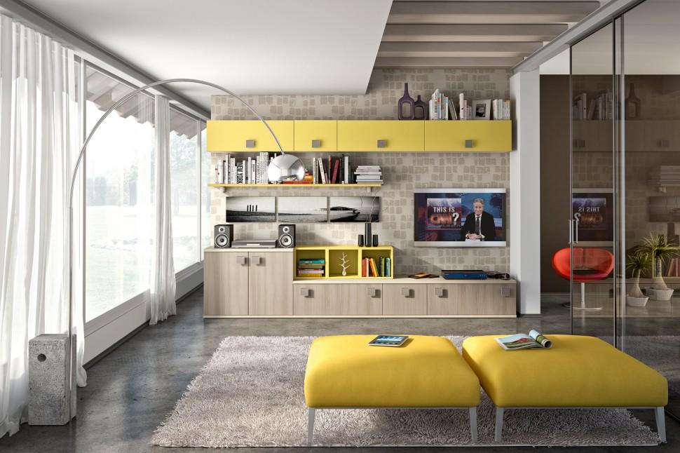 Id es pour d corer un salon avec des meubles de rangement mural - Decorer un meuble ...