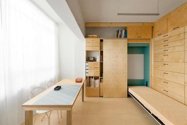 am nager un studio de 15m2 avec beaucoup de rangements. Black Bedroom Furniture Sets. Home Design Ideas
