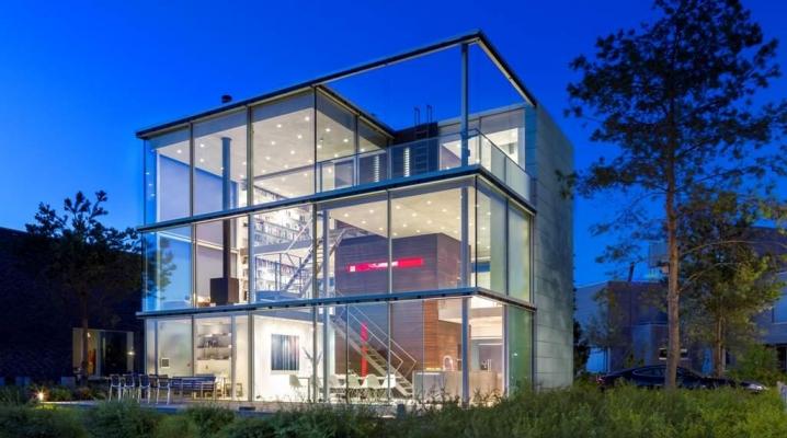 maison de verre en forme de cube. Black Bedroom Furniture Sets. Home Design Ideas