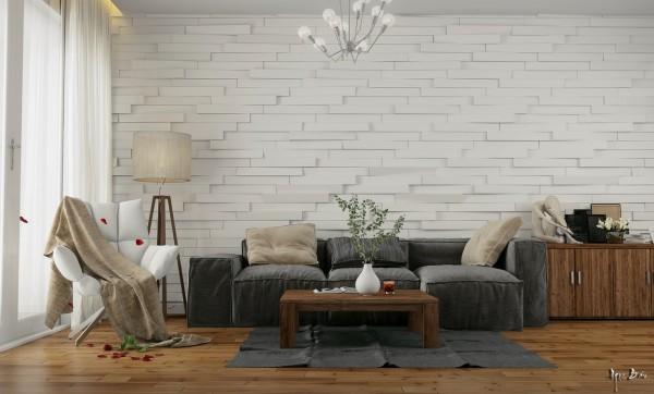 Mur Relief Blanc Salon