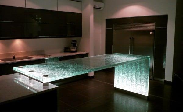 25 plans de travail de cuisine uniques design bois - Plan de travail cuisine en verre ...