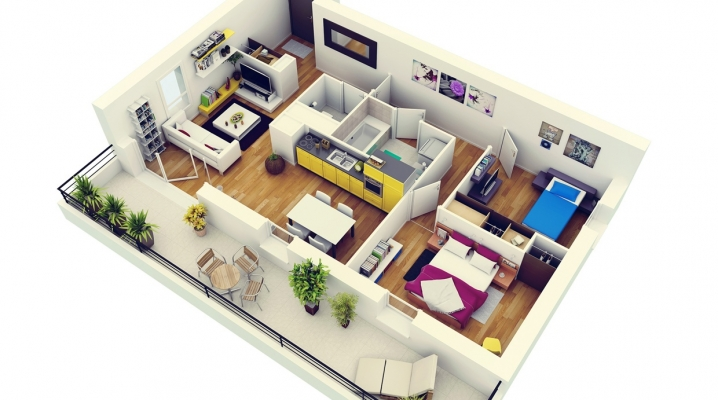 50 plans 3d d 39 appartement avec 2 chambres for 2 bedroom apartment decor