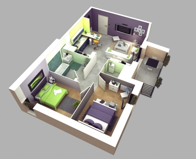 50 plans 3d d 39 appartement avec 2 chambres. Black Bedroom Furniture Sets. Home Design Ideas