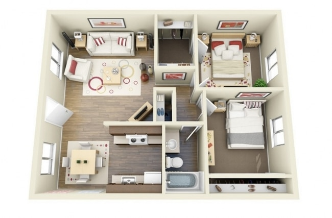 50 plans 3d d 39 appartement avec 2 chambres for Plan maison t3