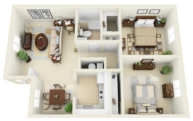 plan appartement 70m2 2 chambres