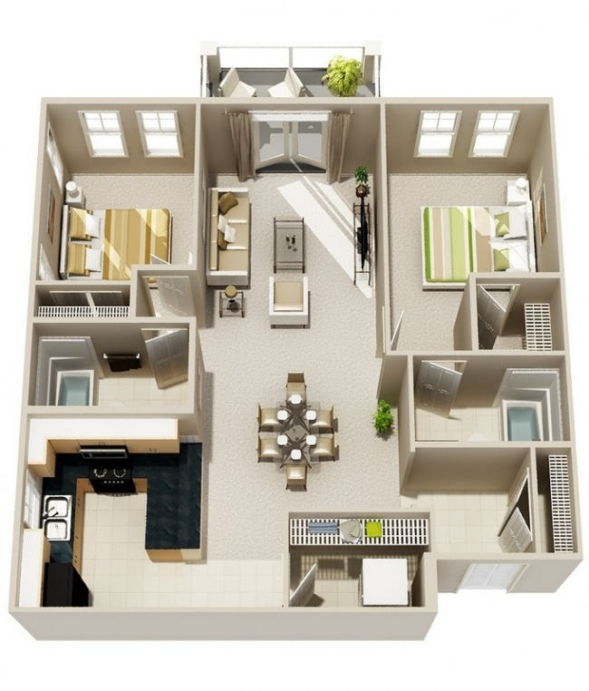 50 plans 3d d 39 appartement avec 2 chambres for Appartement 3d gratuit