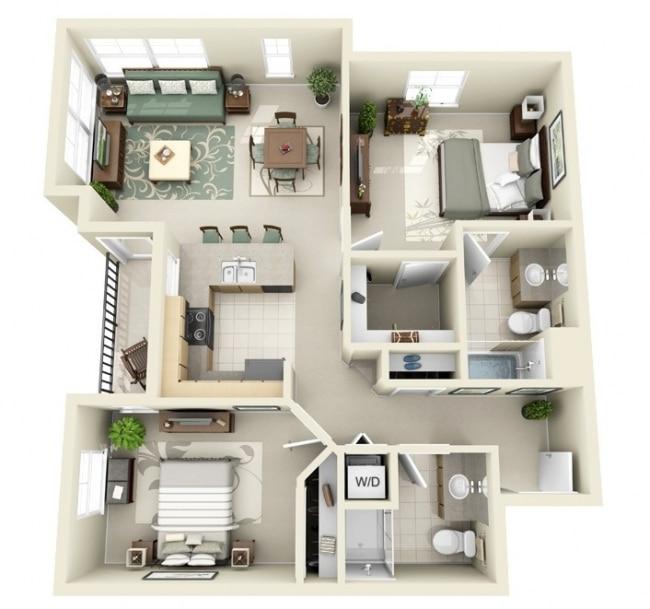 50 Plans 3D d\'appartement avec 2 chambres
