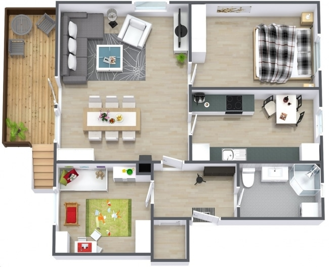 50 plans 3d d 39 appartement avec 2 chambres for Faire un plan d appartement