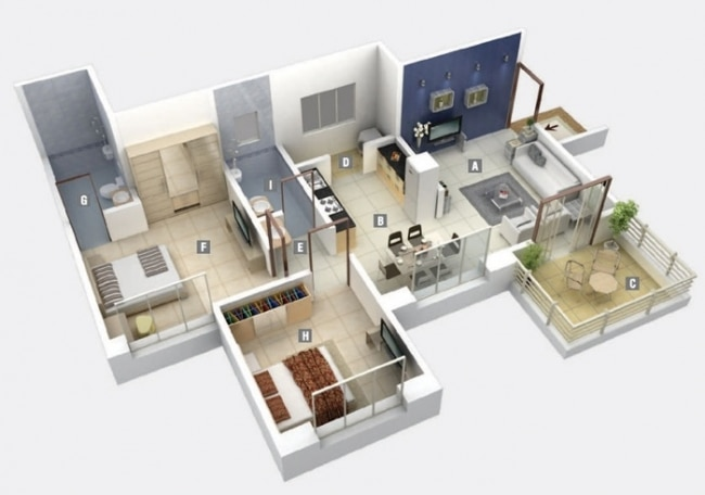Idee plan3d appartement 2chambres 37 for Appartement 3d gratuit