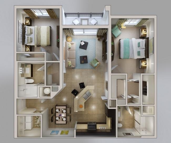 plan de appartement 50m2