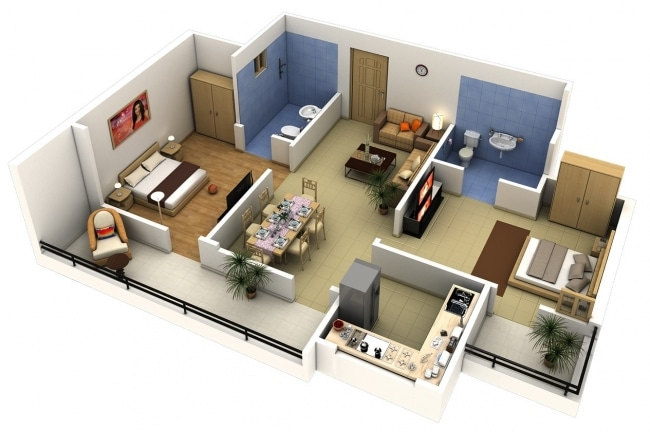 Idee plan3d appartement 2chambres 39 for Apartment design 90m2
