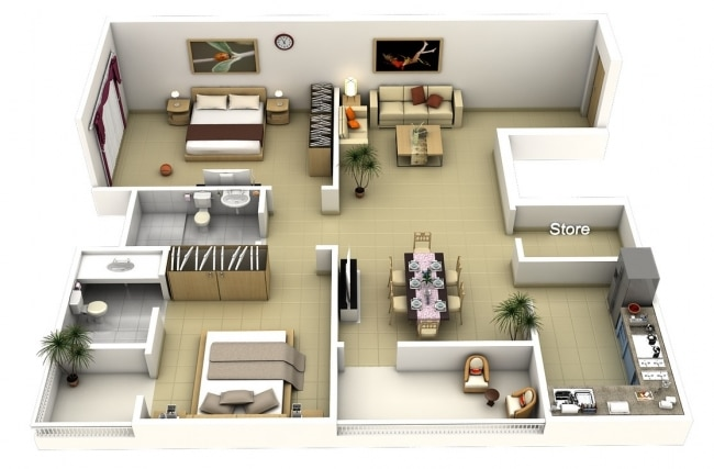 small 2 bedroom apartment 50 plans 3d d appartement avec 2 chambres 17081