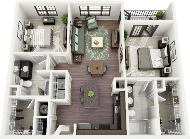 50 plans 3d d 39 appartement avec 2 chambres for Appartement design sims 3