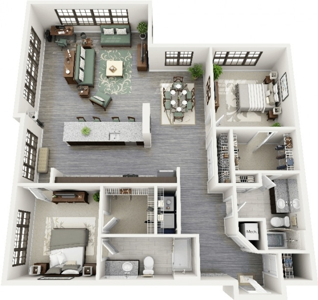 50 plans 3d d 39 appartement avec 2 chambres for Deco appartement en l