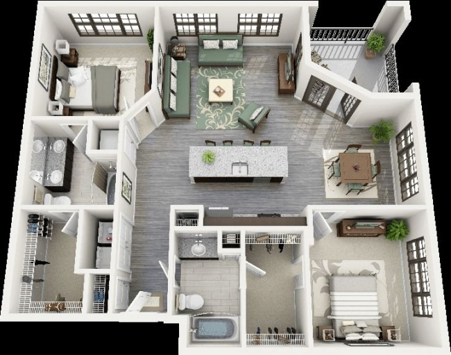 50 plans 3d d 39 appartement avec 2 chambres for 3d plan maison