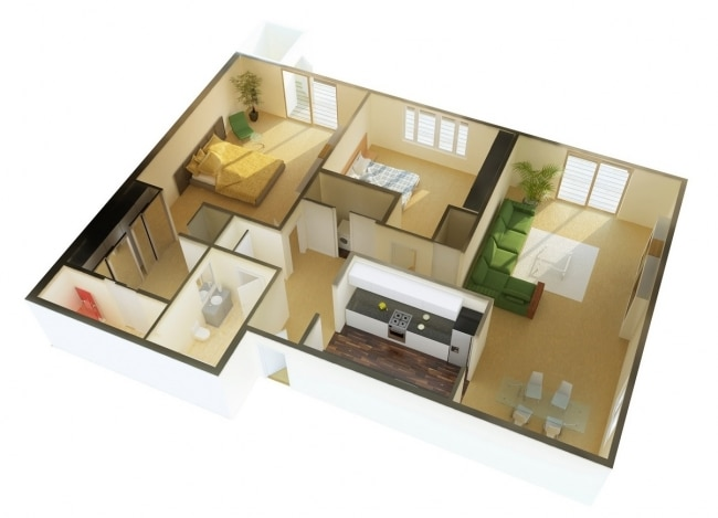 50 plans 3d d 39 appartement avec 2 chambres for Appartement 45m2 design