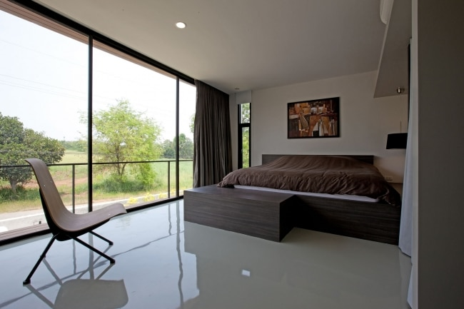mur de verre chambre maison contemporaine. Black Bedroom Furniture Sets. Home Design Ideas