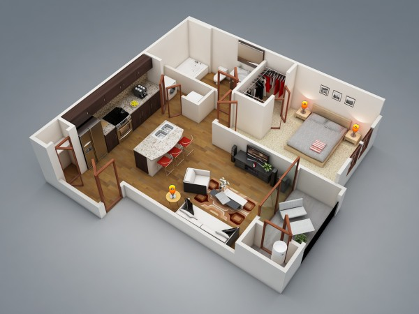 Plan 3d appartement 1 chambre 02 for Turn floor plan into 3d model