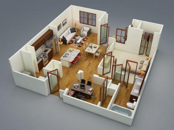 Plan 3d appartement 1 chambre 04 for Plan 3d chambre