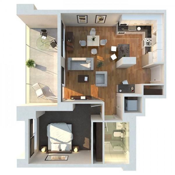 Apartment Bedroom Arrangement Ideas: 50 Plans En 3D D'appartement Avec 1 Chambres