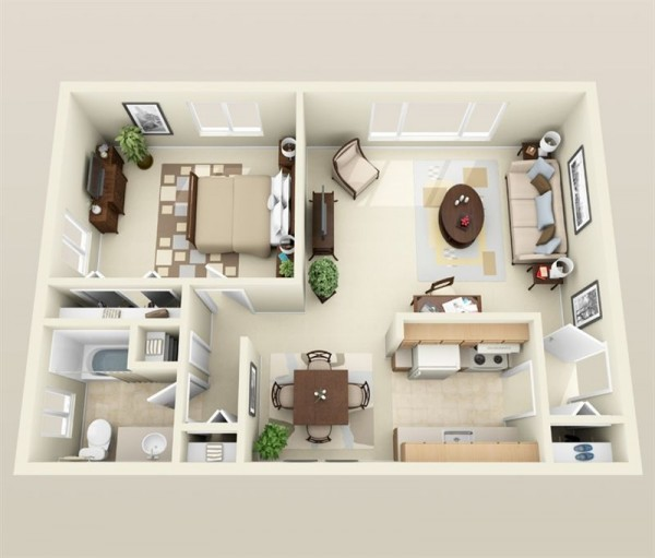 Plan 3d appartement 1 chambre 10 for Plan appartement 3d