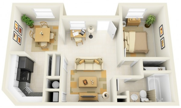 plan 3d appartement 1 chambre 14. Black Bedroom Furniture Sets. Home Design Ideas