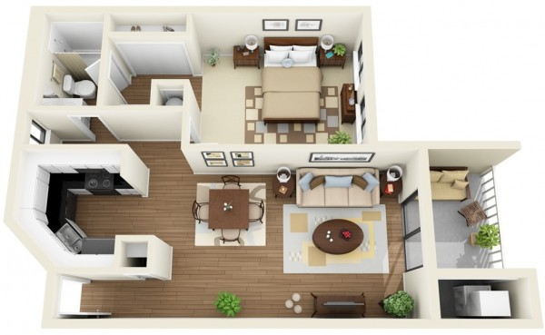 Plan 3d appartement 1 chambre 16 for Plan architecte chambre hotel