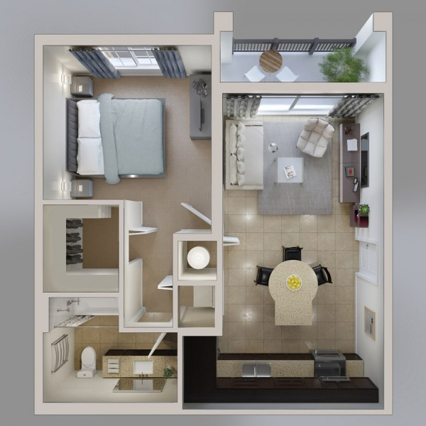 L Shaped Single Storey Homes Interior Design I J C Mobile: 50 Plans En 3D D'appartement Avec 1 Chambres