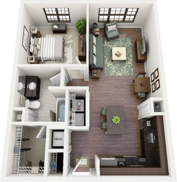 1 Bedroom Apartments Near Me: 50 Plans En 3D D'appartement Avec 1 Chambres