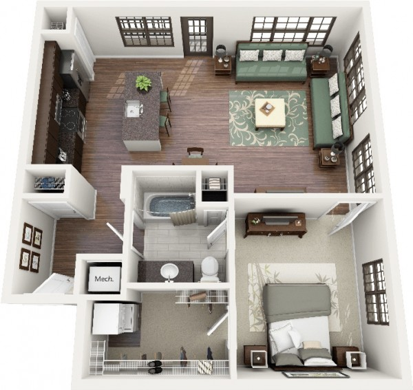 1000 Images About Home Foursquare Living On Pinterest: 50 Plans En 3D D'appartement Avec 1 Chambres