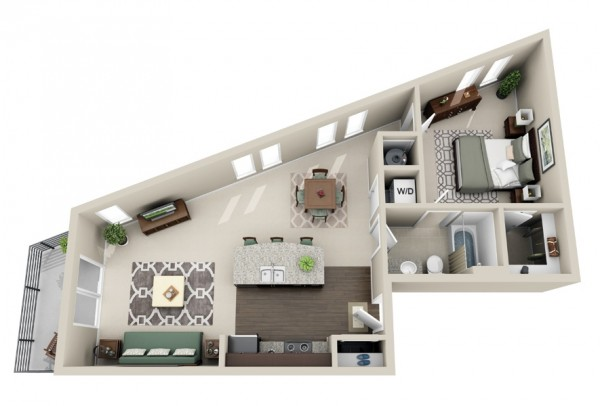 plan appartement 1 chambre 25m2