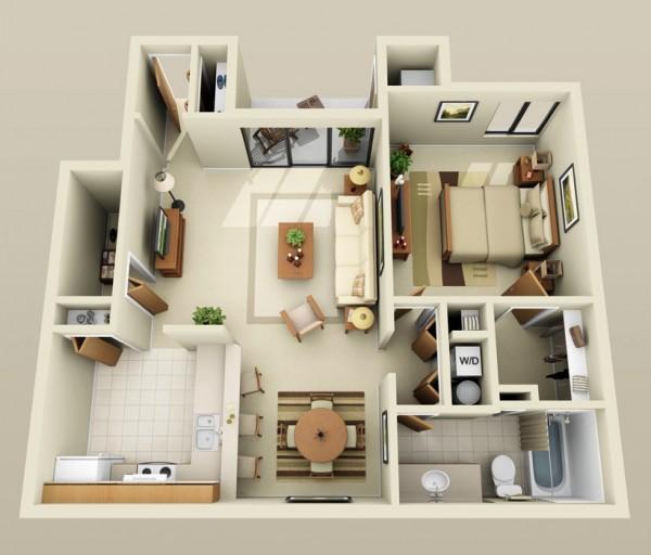 plan appartement 50m2 1 chambre