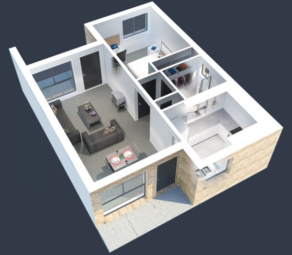 Plan 3d appartement 1 chambre 33 for Plan appartement 3d