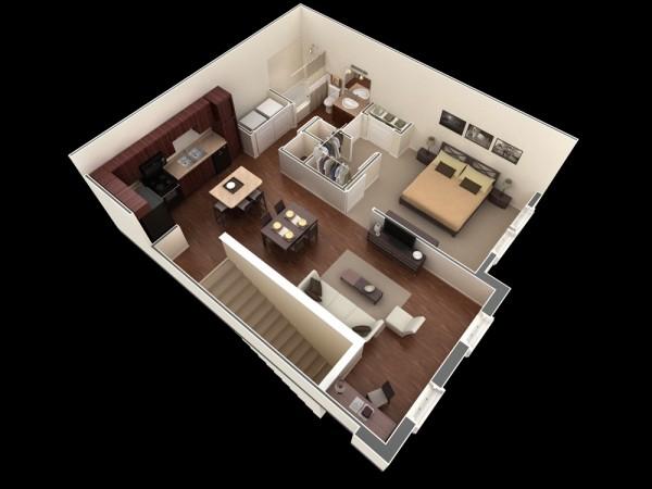 plan 3d appartement 1 chambre 35. Black Bedroom Furniture Sets. Home Design Ideas