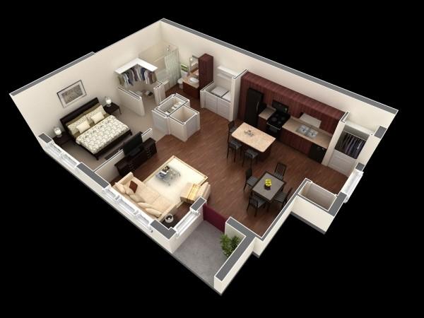 plan 3d appartement 1 chambre 37. Black Bedroom Furniture Sets. Home Design Ideas