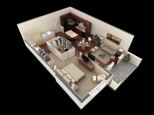 plan 3d appartement 1 chambre 38. Black Bedroom Furniture Sets. Home Design Ideas