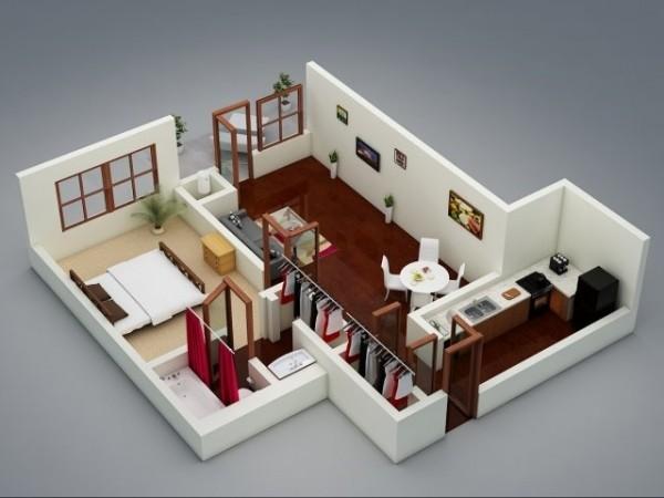 Plan 3D Appartement 1 Chambre 39