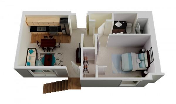 50 plans en 3d d appartement avec 1 chambres. Black Bedroom Furniture Sets. Home Design Ideas
