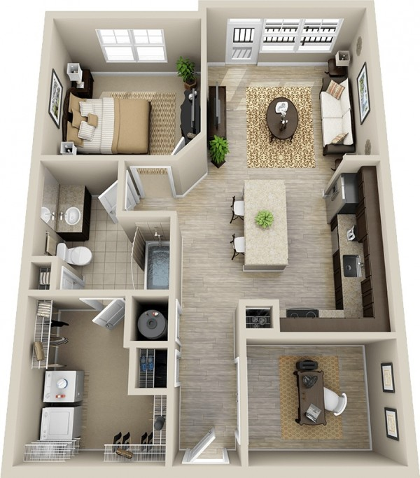 Plan 3d appartement 1 chambre 50 for Appartement design plan